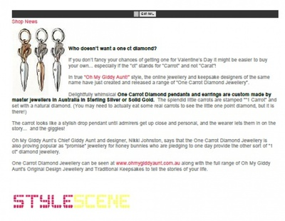 New online magazine Stylescene featured Oh My Giddy Aunt's One Carrot Diamonds
