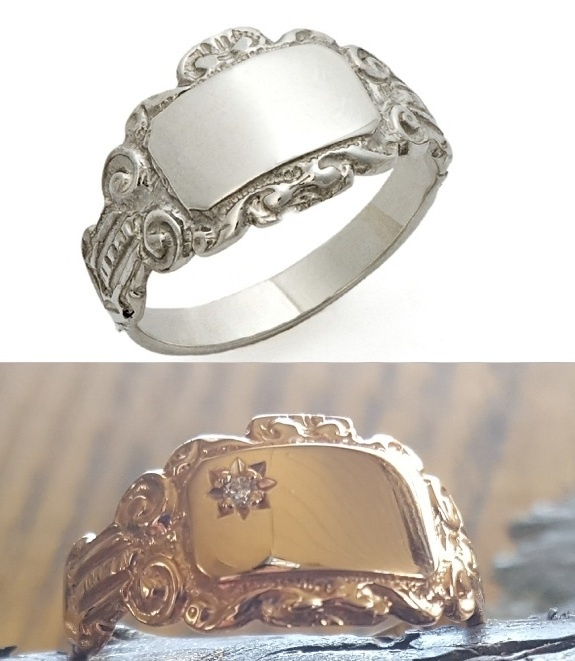 Signet Ring - SCROLL - Sterling Silver or 9ct Gold