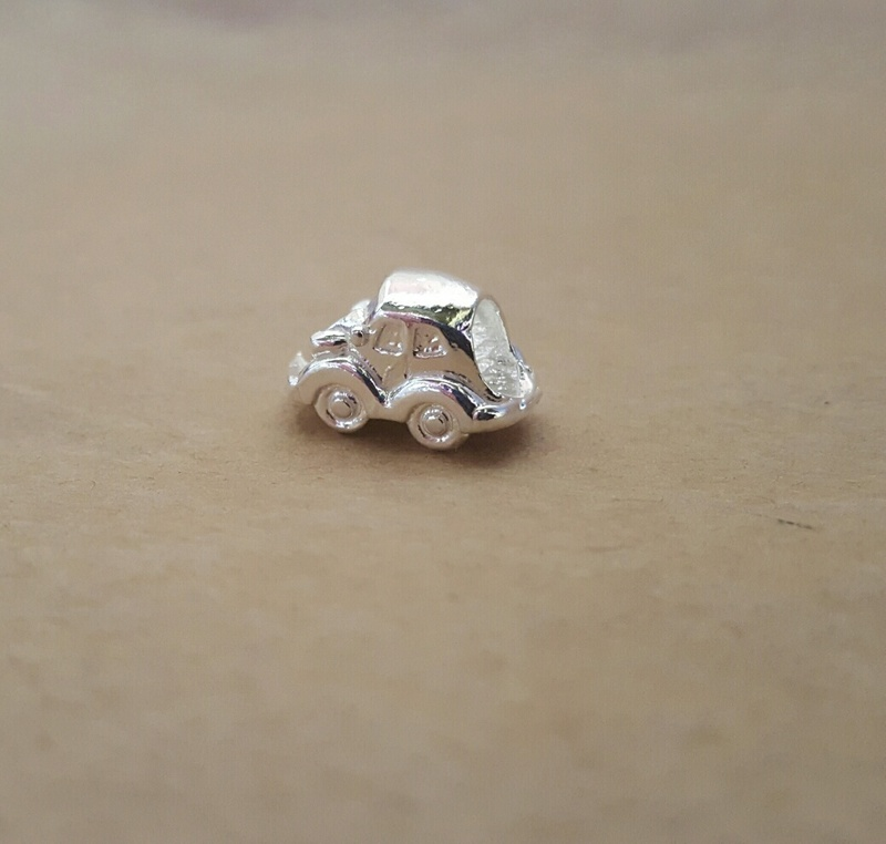 Slider Charm - LITTLE CAR - Sterling Silver or 9ct Gold