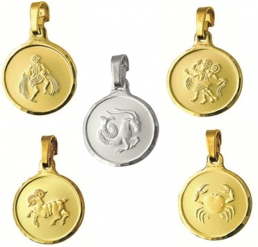 Zodiac - ROUND LARGE - Fine Silver or 9ct Gold