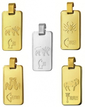 Zodiac - RECTANGULAR LARGE - Fine Silver or 9ct Gold