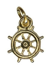 Charm - SMALL SHIP'S WHEEL - Sterling Silver or 9ct Gold