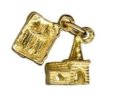 Charm - CHURCH WITH BIBLE - Sterling Silver or 9ct Gold