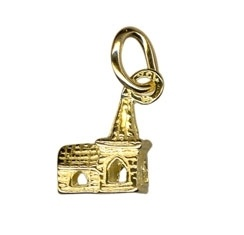 Charm - TINY CHURCH - Sterling Silver or 9ct Gold