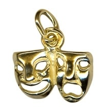 Charm - DRAMA MASKS JOINED - Sterling Silver or 9ct Gold
