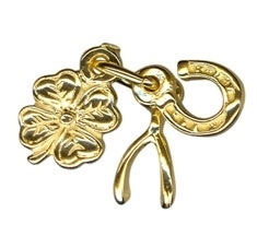 Charm - CLOVER, HORSESHOE, WISHBONE - Sterling Silver or 9ct Gold