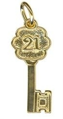 Charm - TINY FANCY 21 KEY - Sterling Silver or 9ct Gold