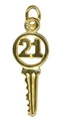 Charm - 21ST BIRTHDAY YALE KEY - Sterling Silver or 9ct Gold