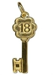 Charm - TINY FANCY 18 KEY - Sterling Silver or 9ct Gold