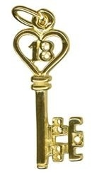 Charm - 18TH BIRTHDAY HEART KEY - Sterling Silver or 9ct Gold