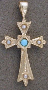 Pendant - CROSS PATONCE - Sterling Silver, 9ct Gold, Birthstone