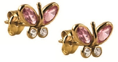 Stud Earrings - JEWELLED BUTTERFLIES - 9ct Yellow Gold