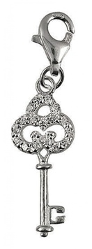 Clip-on Charm - KEY FANCY - Sterling Silver & Crystal
