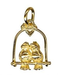 Charm  - LOVE BIRDS ON SWING - Sterling Silver or 9ct Gold