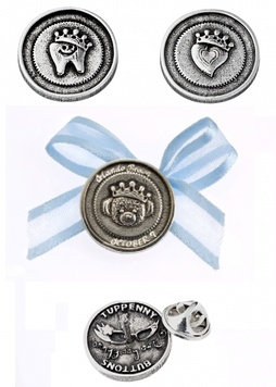 Badge - TUPPENNY BUTTON - Personalised Sterling Silver