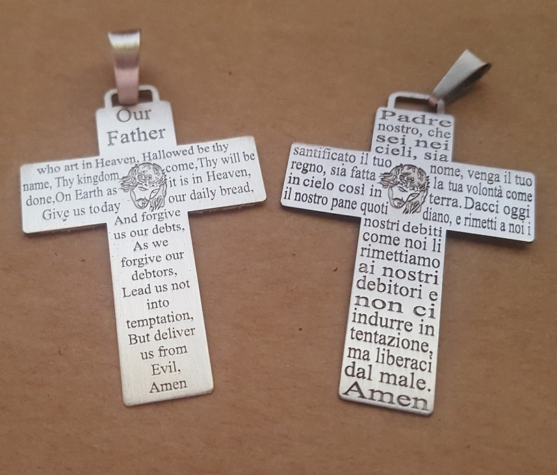 Pendant - CROSS OUR FATHER PRAYER - Sterling Silver