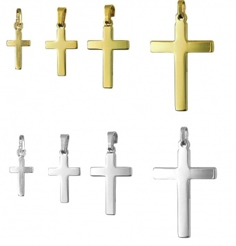 Pendant - PLAIN FLAT CROSS - Sterling Silver or 9ct Gold