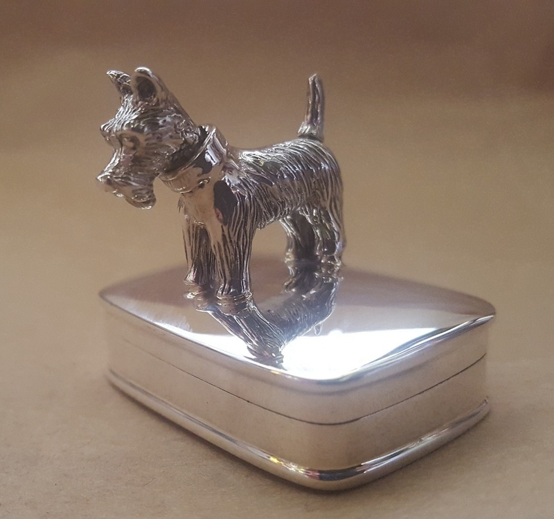Pill Box - WEE SCOTTIE  - Sterling Silver