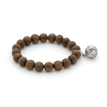 Harmony Ball Bracelet - WOOD 10mm - Bella Donna Sterling Silver