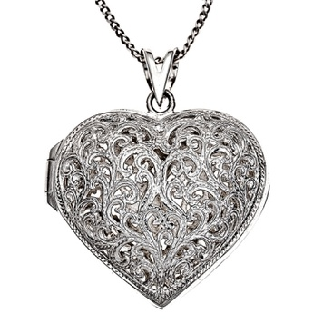 Locket - AJOURE HEART - Sterling Silver or 9ct Gold