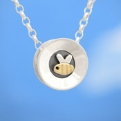 Alan Ardiff Moving Necklace - BUSY BEE - Sterling Silver & 18ct Gold