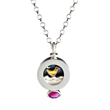 Alan Ardiff Moving Necklace - MINI MOONDANCE - Sterling Silver & 18ct Gold