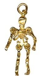 Charm - MOVING SKELETON - Sterling Silver or 9ct Gold