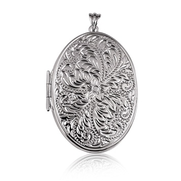 Locket - VERY LARGE OVAL EMBOSSED - Sterling Silver