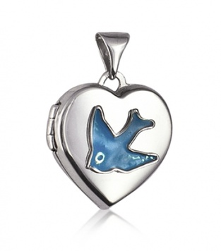 Locket - HEART BLUEBIRD TRADITIONAL - Sterling Silver and Enamel