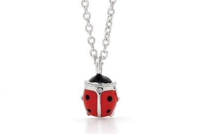 Piccolo NECKLACE - RED LADY BEETLE - Sterling Silver