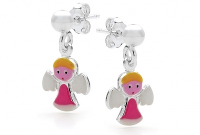 Piccolo Earrings - PINK ANGEL DROP STUDS - Sterling Silver