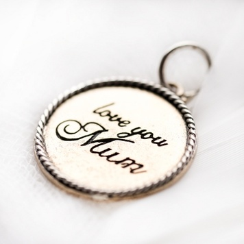 Palas Pendant - LOVE YOU MUM - Sterling Silver and Brass