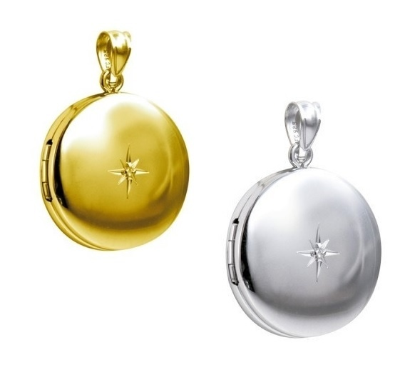 Locket - ROUND DIAMOND - Sterling Silver or 9ct Yellow Gold