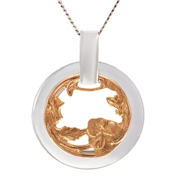 Pendant - CIRCLE EVERLASTING - Sterling Silver & 9ct Gold
