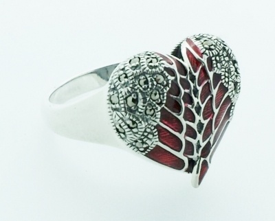 Ring - ANGEL HEART - Sterling Silver, Marcasite