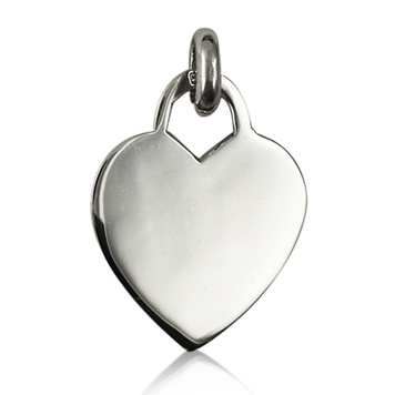 Pendant  - PLAIN HEART TAG - Sterling Silver