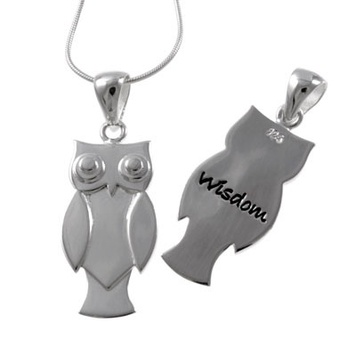 Poetic Pieces Pendant OWL - Sterling Silver