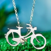 Alan Ardiff Necklace - BICYCLE - Sterling Silver & 18ct Gold