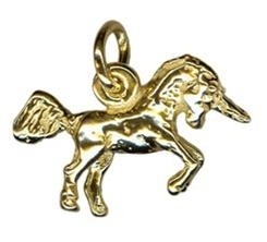 Charm - SMALL UNICORN JUMPING - Sterling Silver or 9ct Gold