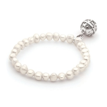 Harmony Ball Bracelet - CHILD SIZE PEARL - Bella Donna Sterling Silver