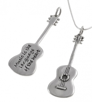 Poetic Pieces Pendant GUITAR - Sterling Silver