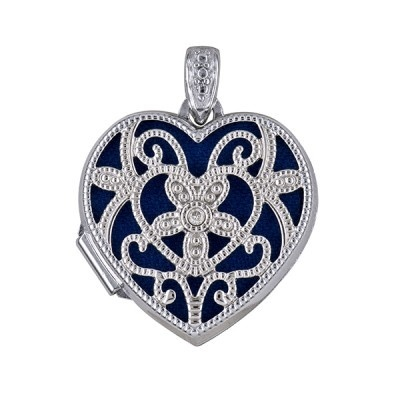 Locket - FILIGREE FORGET-ME-NOT DIAMOND - Sterling Silver
