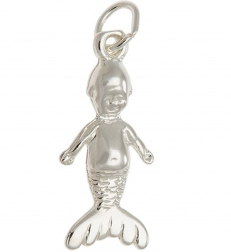 Pendant or Charm - MERMAID KEWPIE - Sterling Silver or 9ct Gold