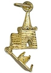 Charm - CHURCH WITH BRIDE AND GROOM - Sterling SIlver or 9ct Gold