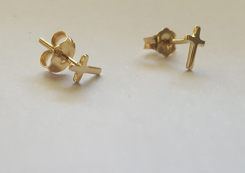 Stud Earrings - TINY CROSSES - 9ct Gold