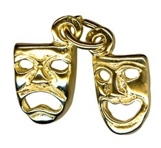 Charm - DRAMA MASKS COMEDY & TRAGEDY - Sterling Silver or 9ct Gold