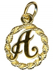 Charm - SCRIPT LETTERS IN CIRCLE - Sterling Silver or 9ct Gold