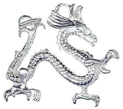 Charm - LARGE DRAGON -  Sterling Silver or 9ct Gold