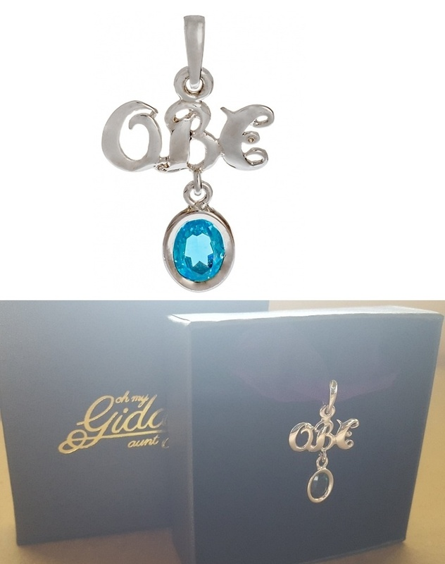 Pendant - OBE (OVER BLINKIN' 80) - Birthstone, Sterling Silver or 9ct Gold