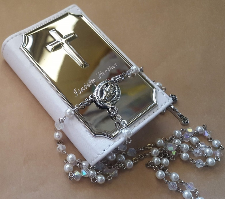 Rosary Beads In A White Bible Box Personalised